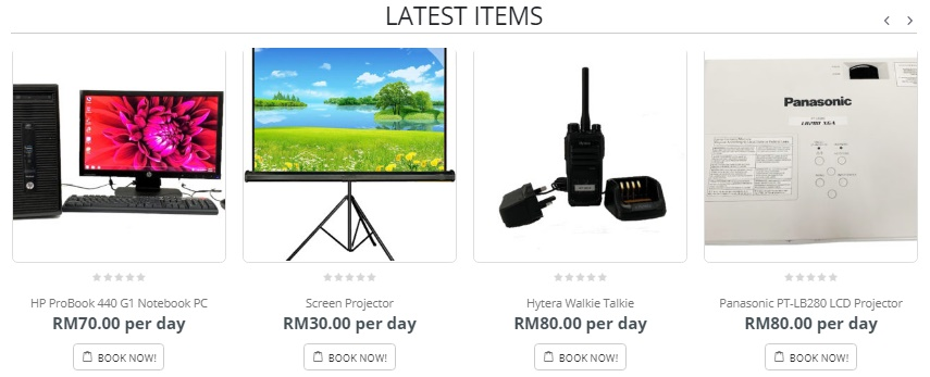 Carousel of items in Rentsmart