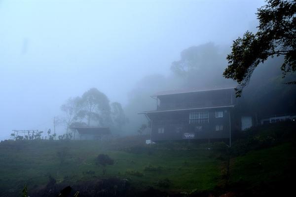 The mist blanketing Mount Kinabalu lodge and Kinabalu mountain.