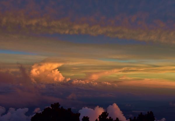 The orange hue during sunset at Laban Rata.