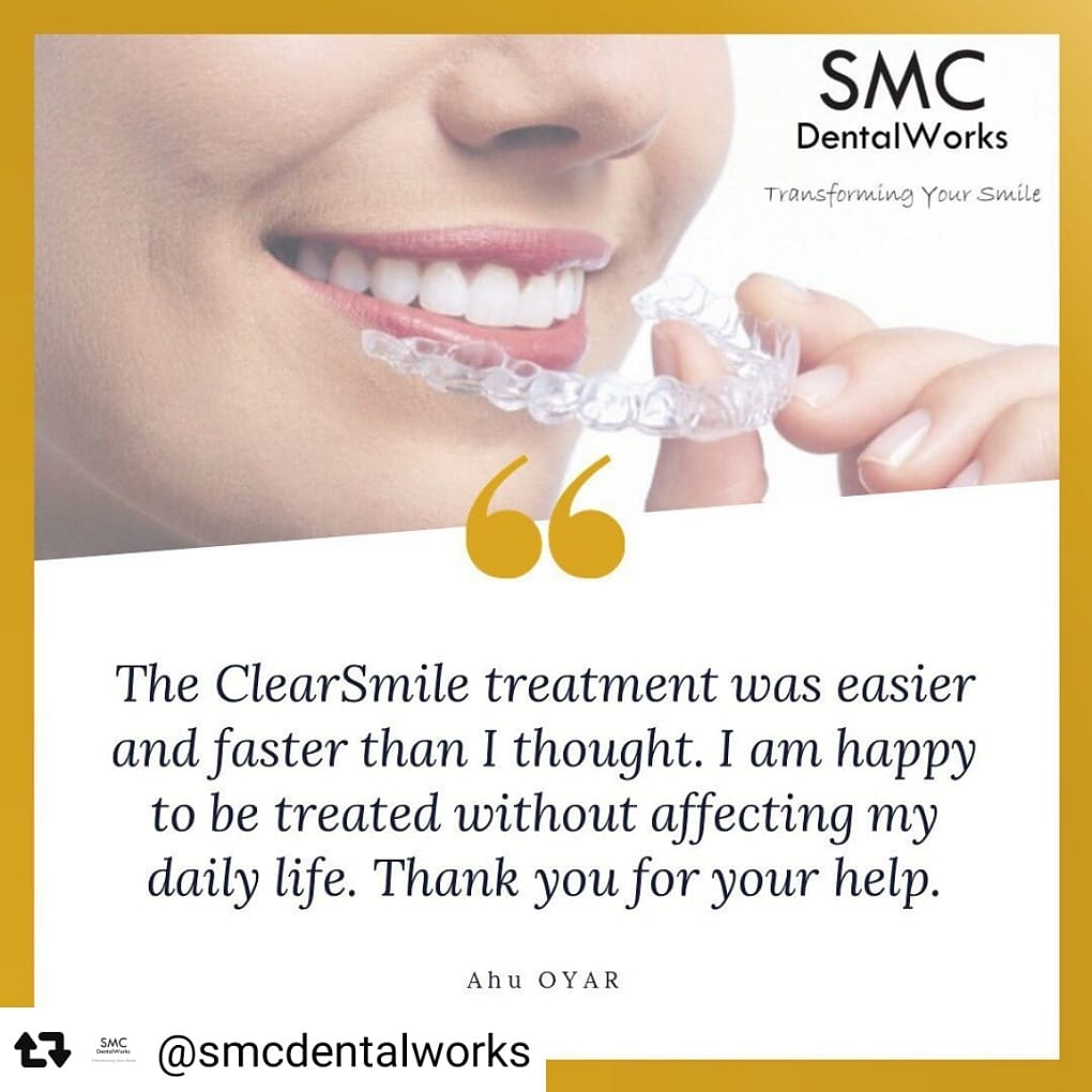 A positive review from a satisfied client under ClearSmile's provider, SMC dental works.