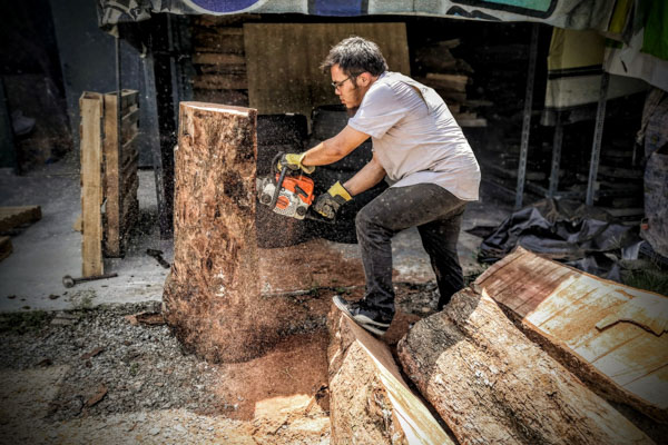 Jonathan Woo, a luthier, cutting wood from a tree stump
