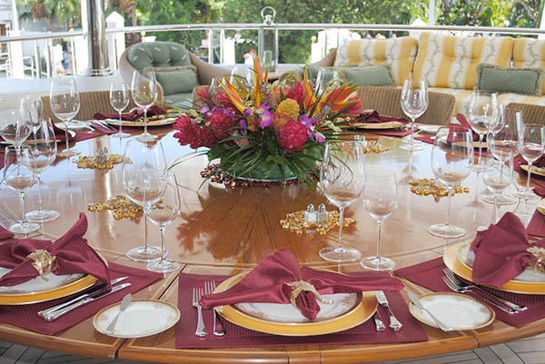 A fancy table setting for a typical western dinner party.