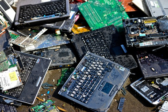 A pile of e-waste ready to be scooped up for recycling.