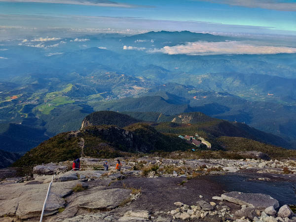 The view of Sabah and Laban Rata from summit of Mount Kinabalu.