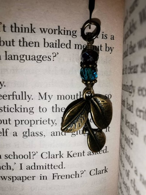 bookmark with leaf charm. handmade accessories
