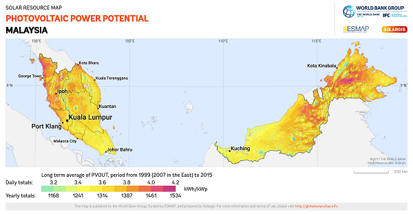 Solar irradiation map Malaysia