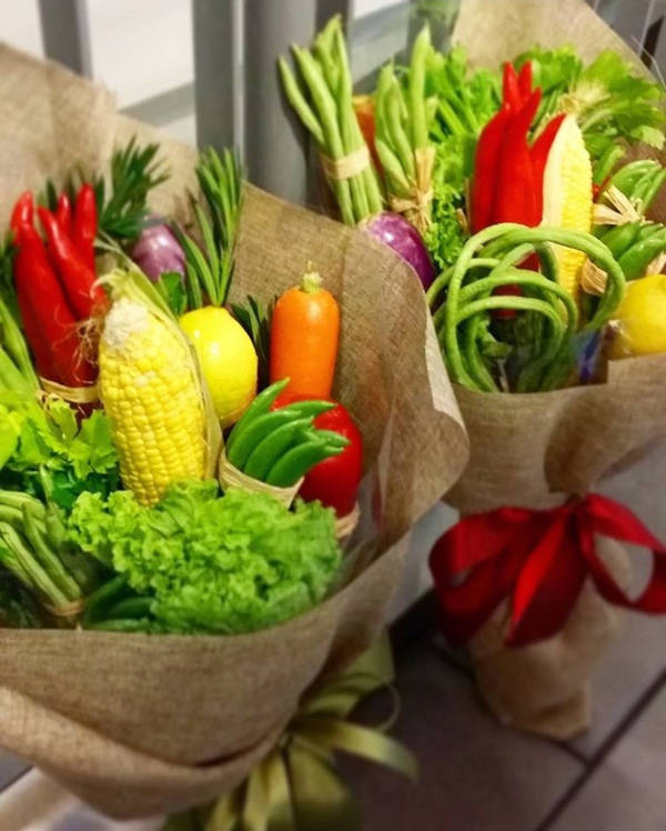 A picture of some vegetable bouquets.