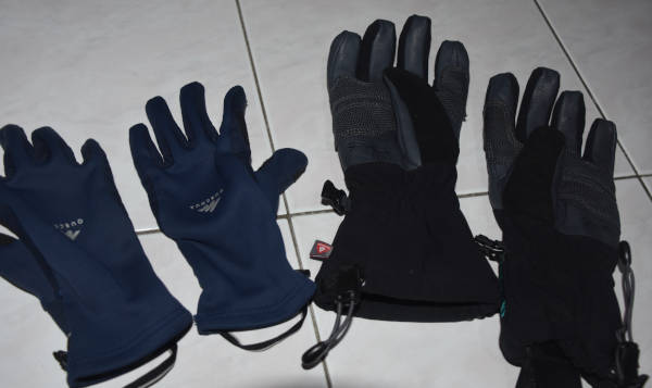the summit gloves and hiking gloves used for kilimanjaro.