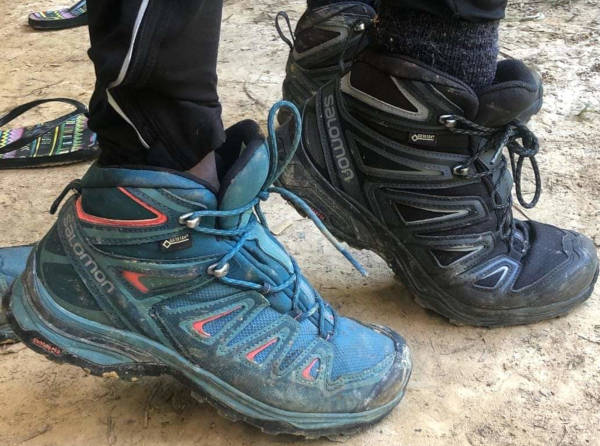 The Salomon shoes used for kilimanjaro hike.