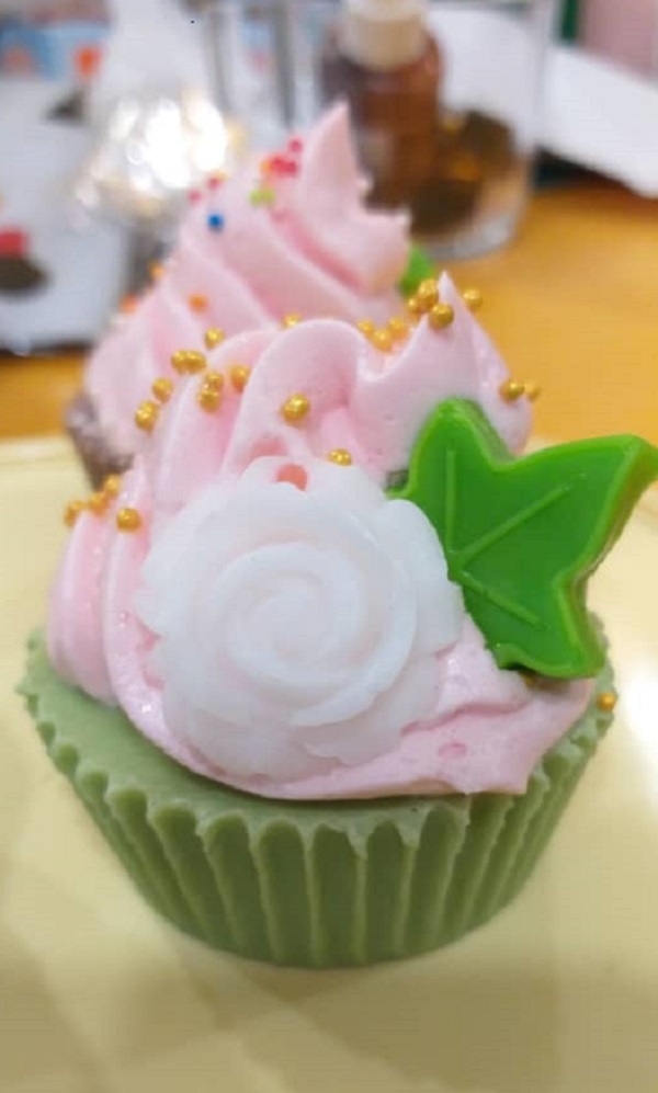 Cupcake soap. Made from Lavender oil, Vanilla essence and soap dye.