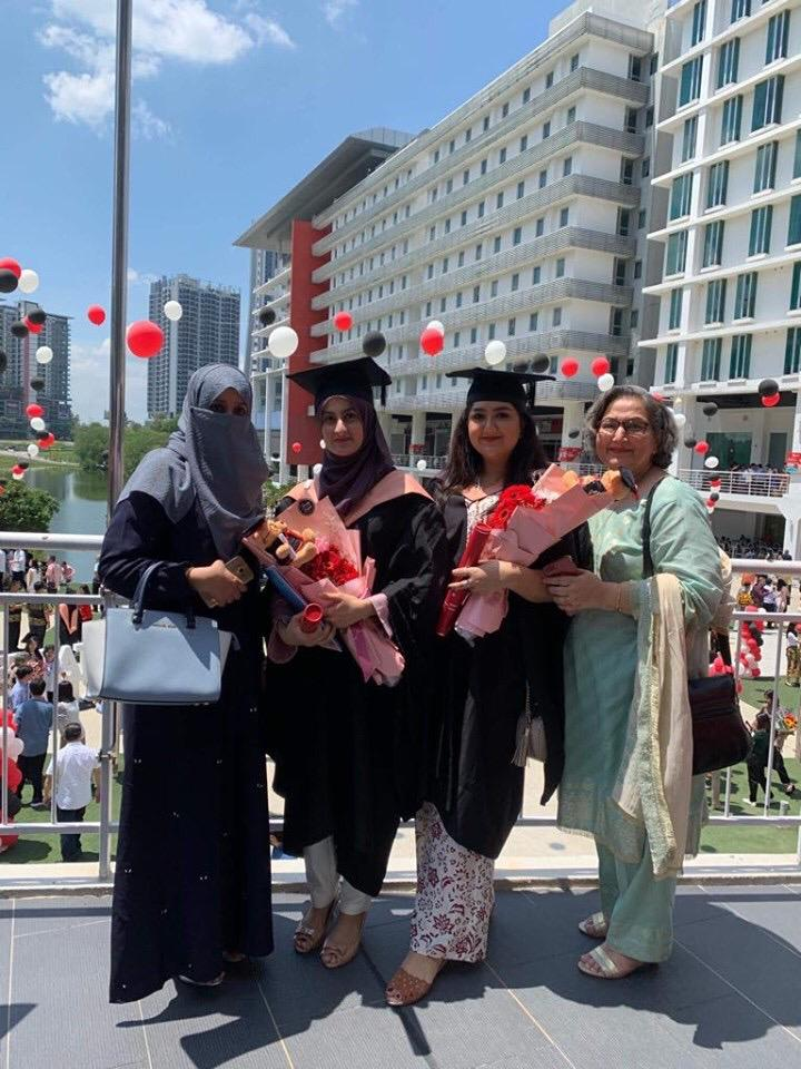 Graduated as a Professional Chef. From left: my mother, me, my friend (Amna) and her mother.