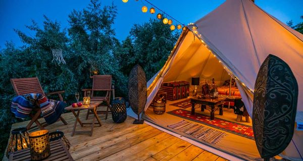 Typical glamping tent.