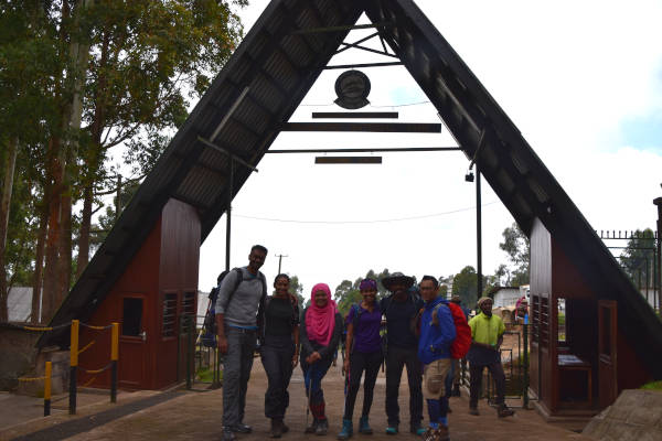 The team at the entrance of Kilimanjaro Machame Gate.