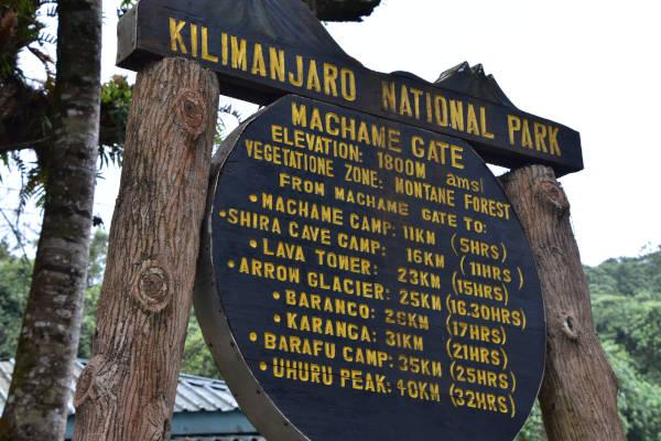 The Machame gate Kilimanjaro signage.