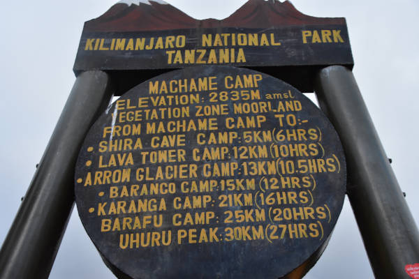 The Machame Camp signage at 2,835 metres above sea level.