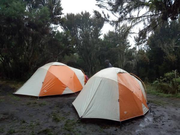 sleeping camps throughout the hike, Kilimanjaro.