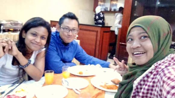 The team having breakfast before flying to Kilimanjaro.