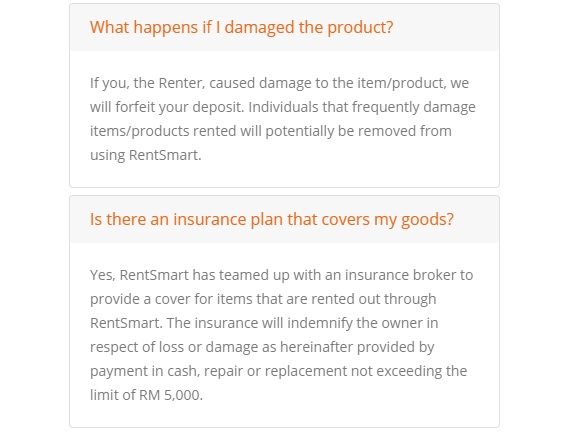 in case of loss or damage Rentsmart indemnifies vendors who rent out their goods.