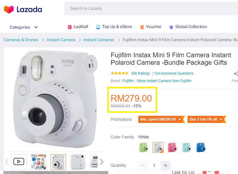 Online shopping website shows Fujfilm Polaroid camera for sale at MYR279.
