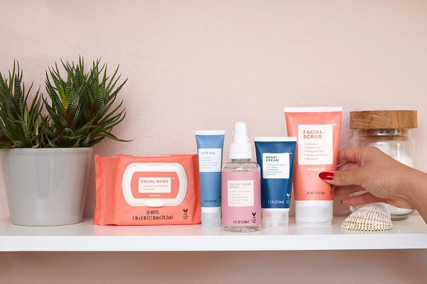 A row of skincare products