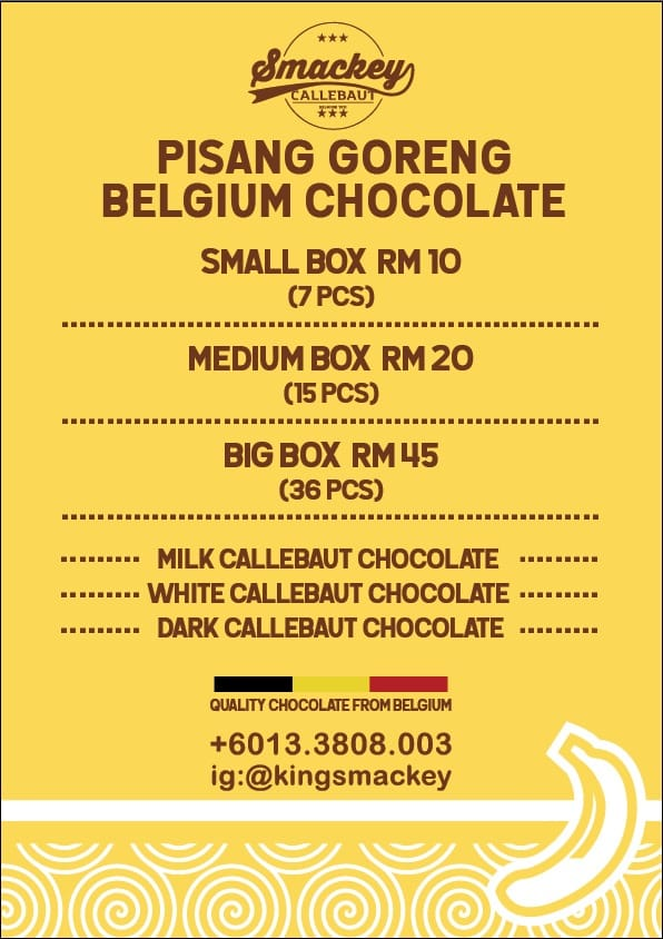 Pisang goreng Belgium chocolate pricing