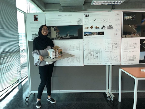 Fresh Graduate: Writer Atiqah holding up her 3D physical model of her final design