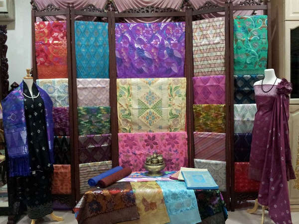 Designs of songket showcased in the boutique.