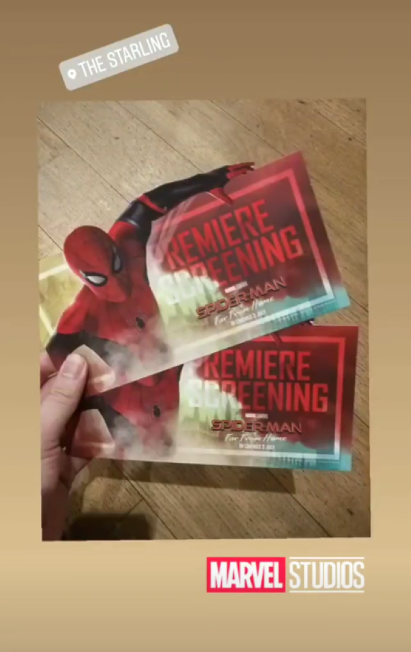 Spiderman:Far From Home tickets in a huge cinema.