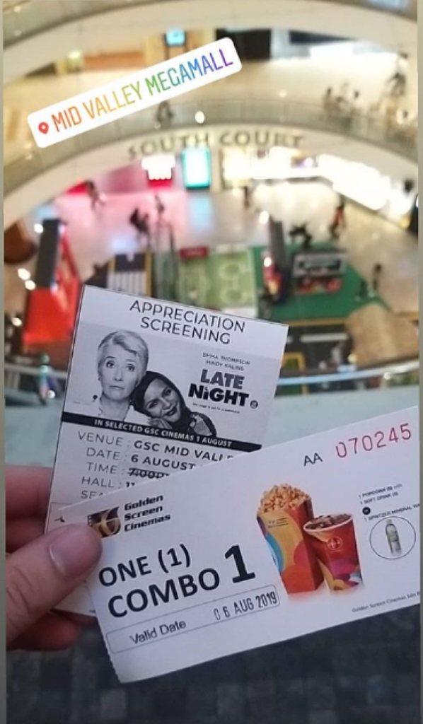 Tickets for Late Night. I got them for free through my university.