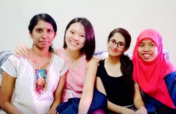 (from left) Shamala, Hui Lian, Ashbir, Atika during Deepavali 2014, one of the triplets