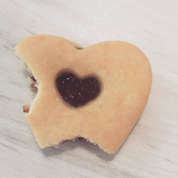 half bitten heart-shaped cookie
