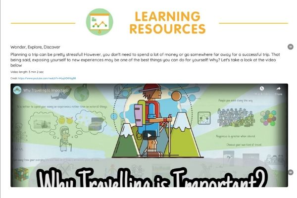 Learning from home is made fun as  materials include videos and articles to capture the attention of students