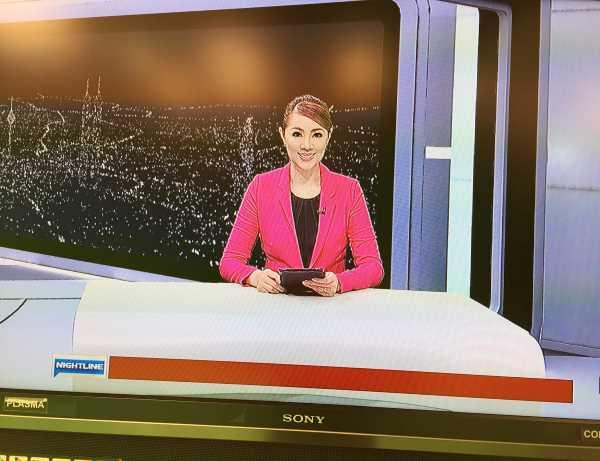 Carol as the TV3 newscaster for Nightline