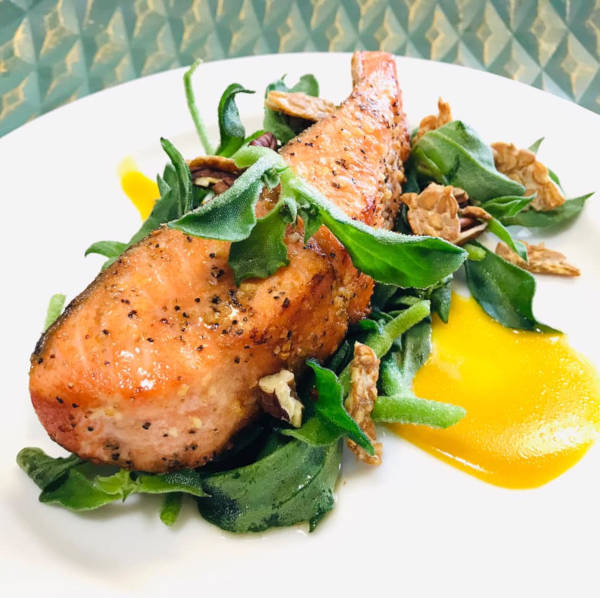 Salmon with iceplant salad by masterchef shahida