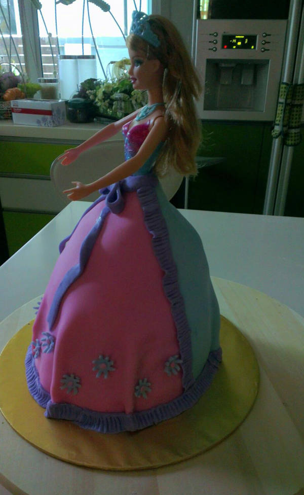 barbie doll fondant icing cake