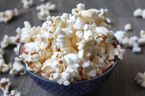 A bowl of microwaveable popcorn prepared for movie time in Blanket Fort.