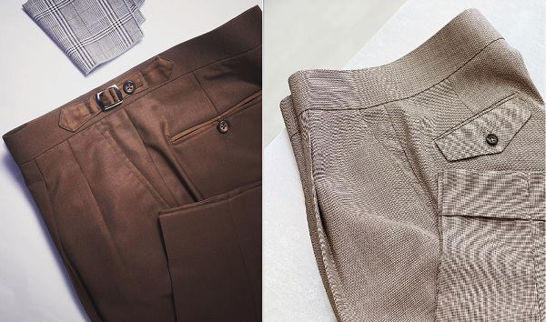Pleated brown pants, a casual alternative to jeans.