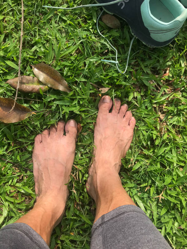 Bare feet on the grass. I found this to be the easiest grounding exercise. and resorted to it to help reconnect to earth and help regain a better vision.