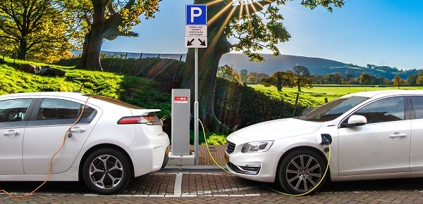 Queuing at the charging station.