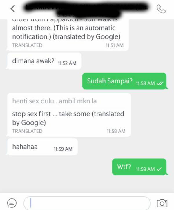 Paro was harassed by a grab rider. This was the conversation.