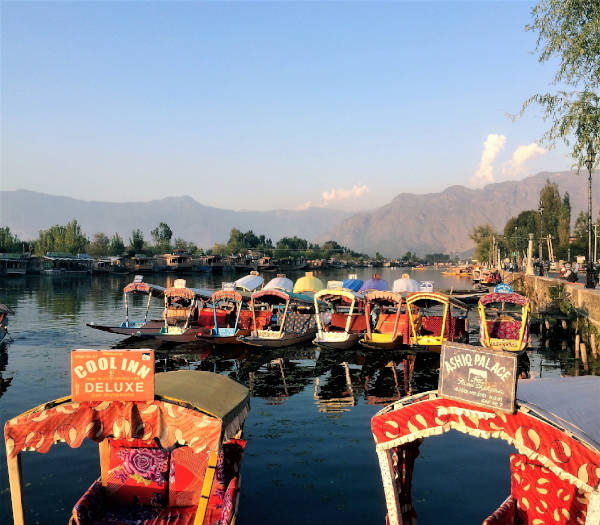 Gaily painted shikaras line the shores of Dal Lake in Kashmir.