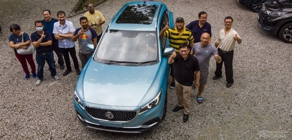 MYyEVOC members test driving MG ZS electric car