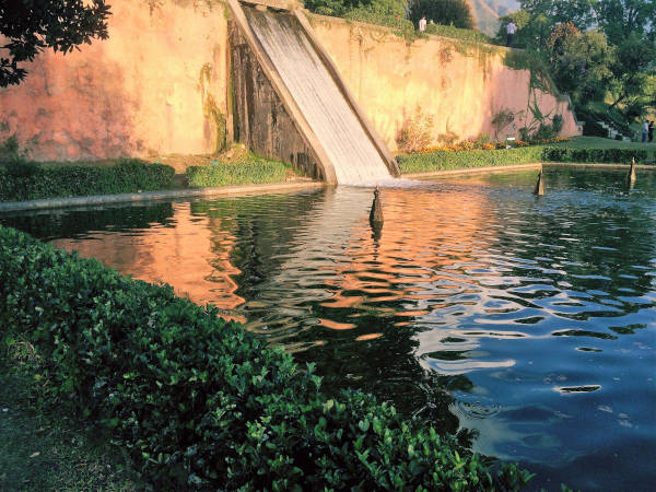 The pool of water at Nishat Bagh, from where the water channel cascades through the garden.