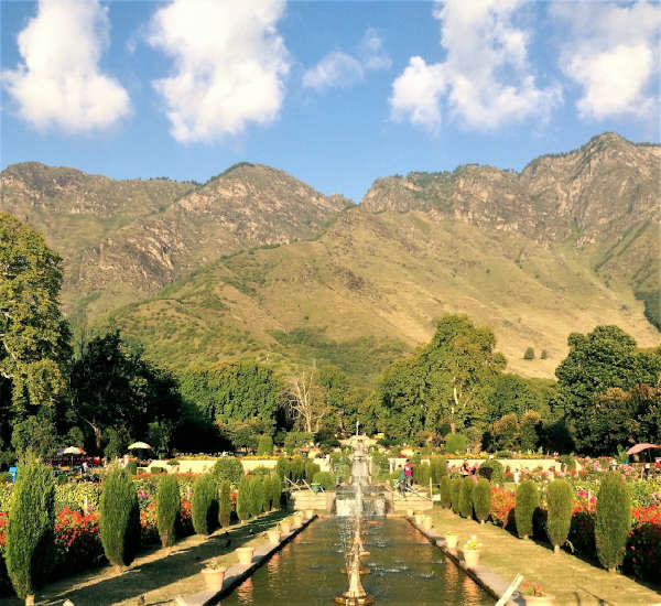 Nishat Bahg, one of the Mughal Gardens has the backdrop of the Zabarwan mountain range,