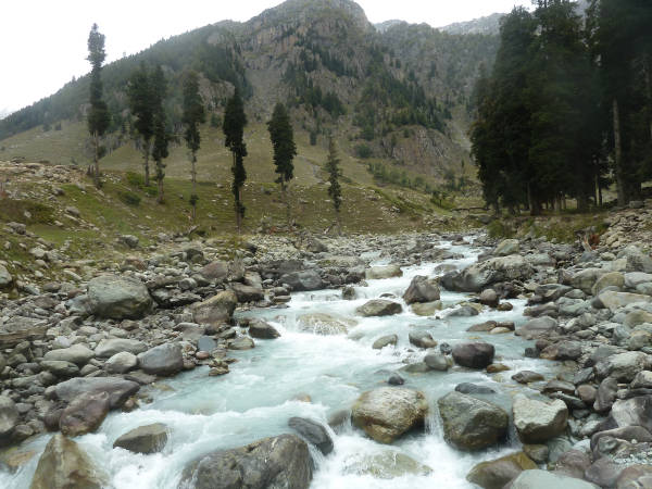 The scenic view of Lidder River, its water originating from the Kolhoi Glacier in the Great Himalaya Range