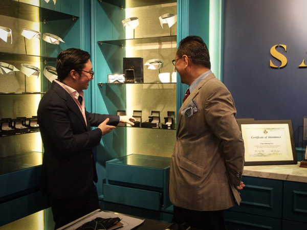 Displays in a bespoke tailor's shop