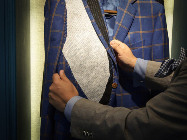 The inside of a suit jacket