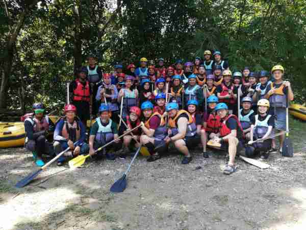 Group photo of the participants of river rafters before going in the water