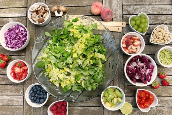 Healthy food comes from fresh produce of fruits and vegetables.
