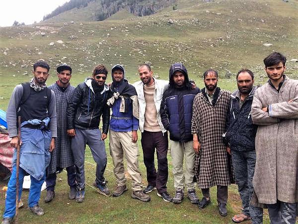 The assembled Kashmiri crew on our  trek to Tarsar Lake.